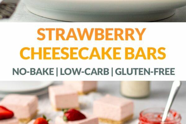 Strawberry Cheesecake Bars (No-Bake, Keto, Gluten-Free)