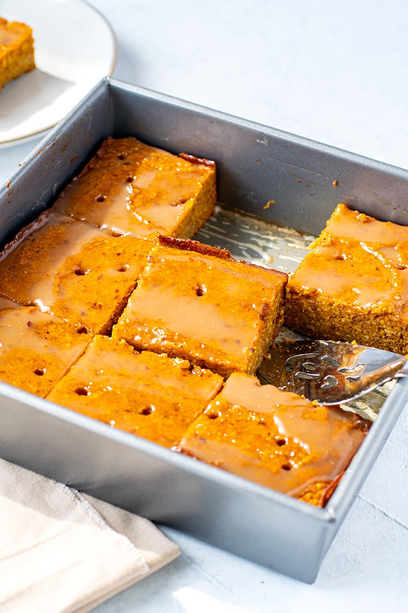 Pumpkin sticky date pudding slice