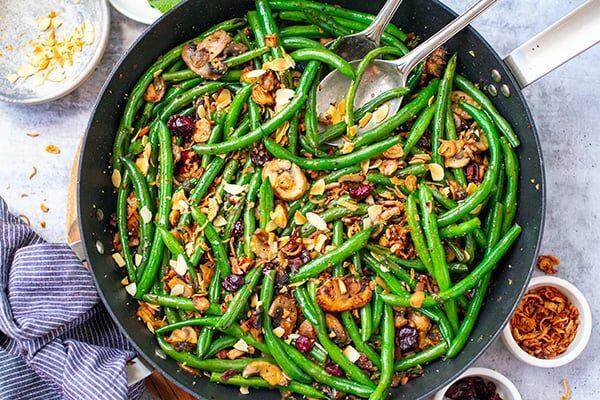 Sautéed Green Beans With Bacon Mushrooms & Garlic