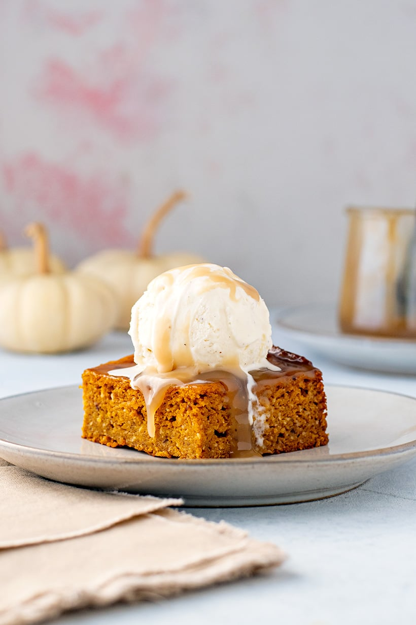 Sticky Date Pudding Recipe With Pumpkin - Slice Shaped