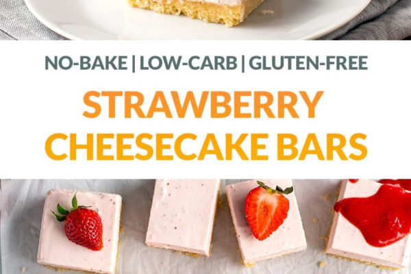 No-Bake Strawberry Cheesecake Slice (Gluten-Free, Low-Carb & Keto)