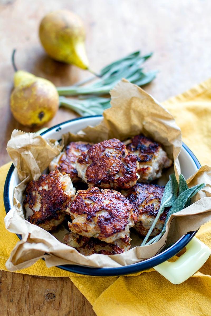 Chicken Breakfast Sausage Patties With Pear & Sage