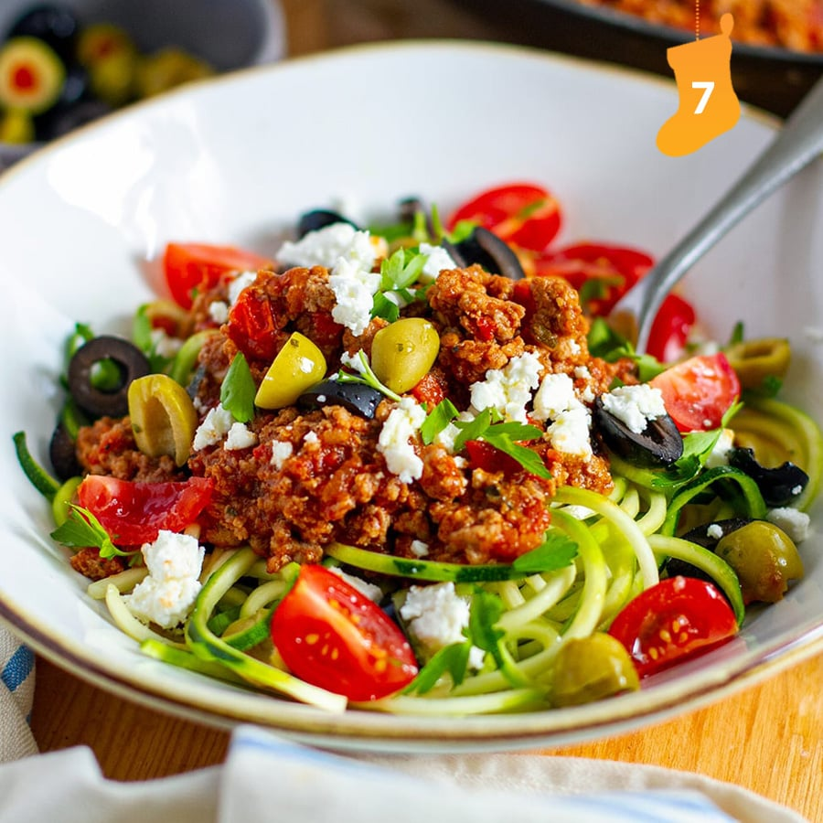 Greek-style bolognese with zucchini noodles