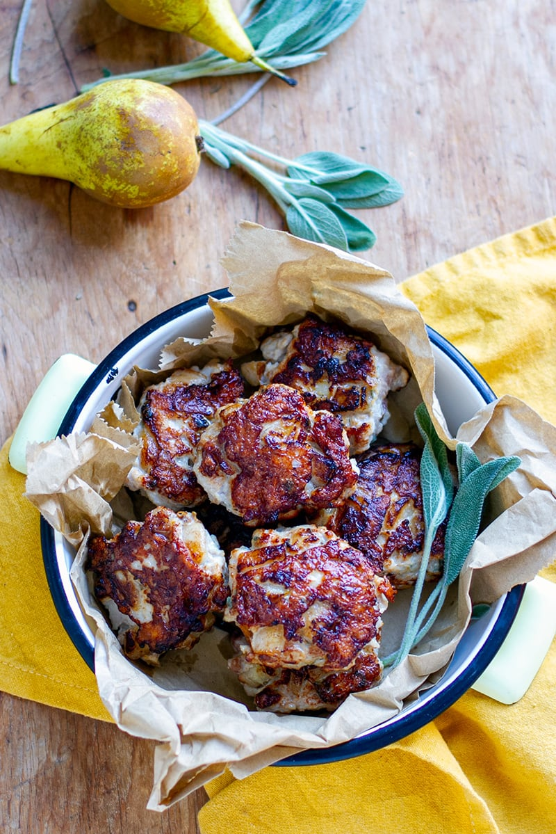 Chicken Sausage Patties With Pear & Sage
