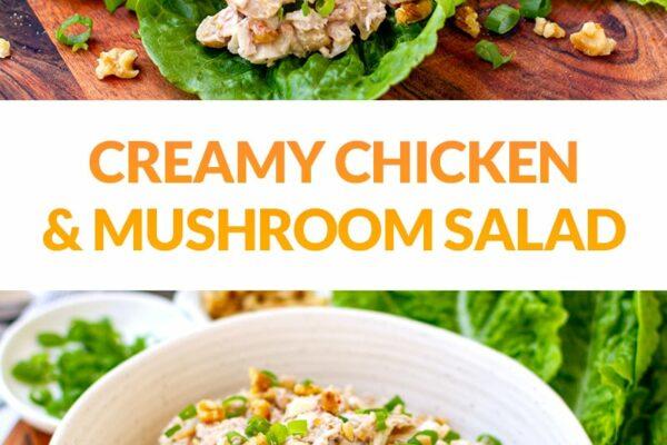 Creamy Chicken Mushroom Salad 'Sherlock' (Keto, Paleo, Whole30)