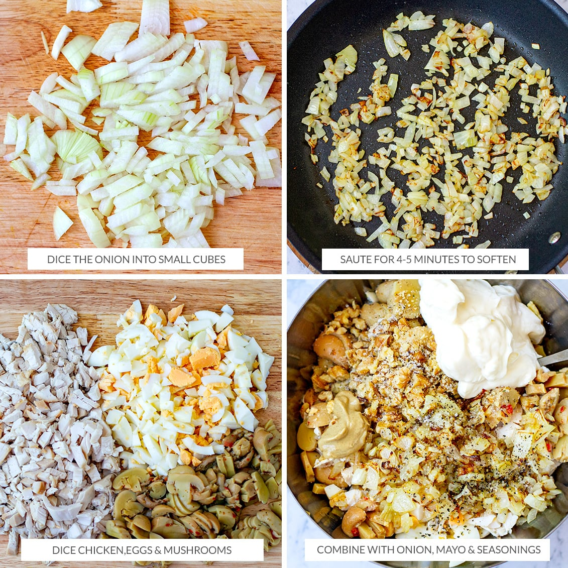 How to make keto chicken salad with mushrooms and eggs