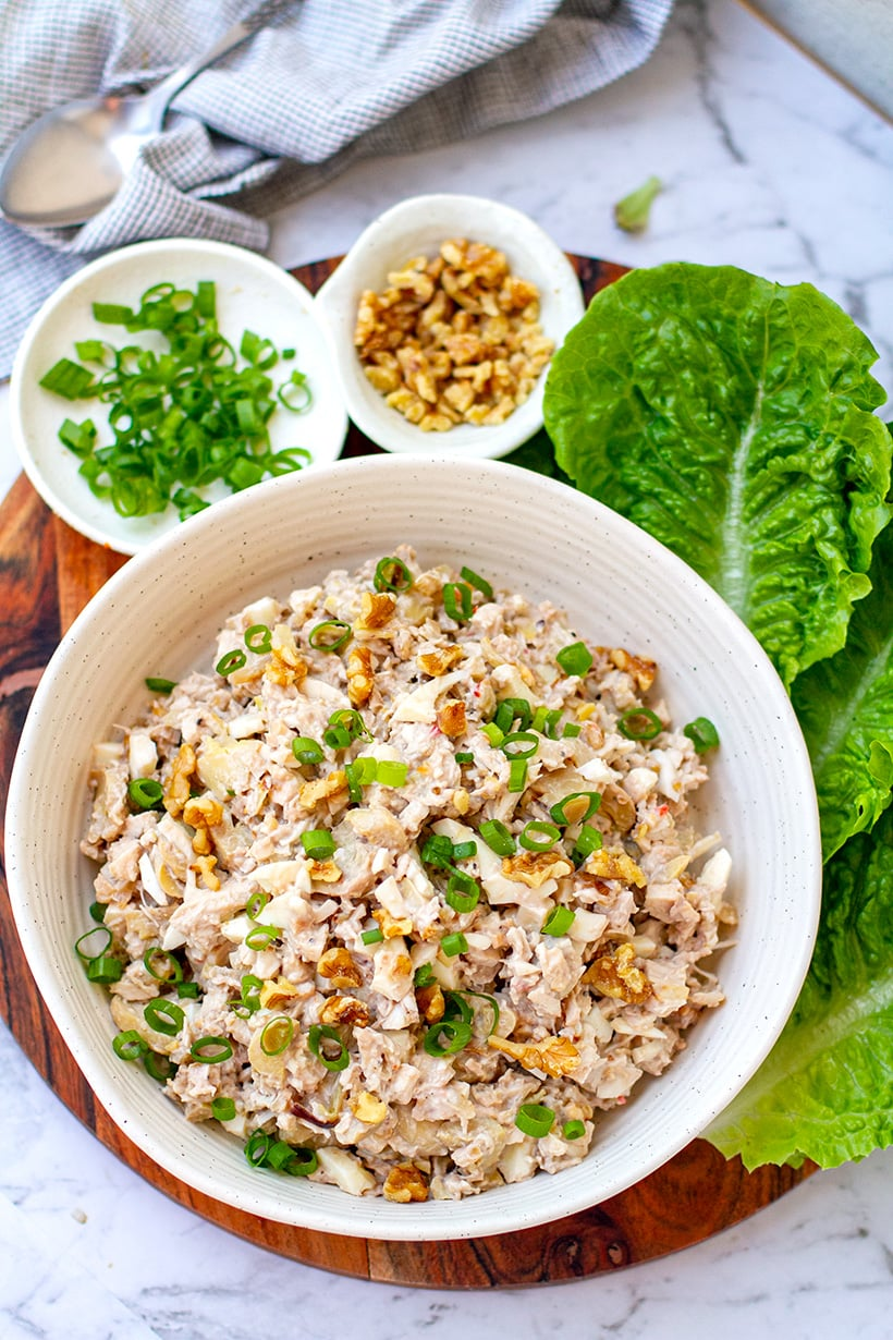 Keto Chicken Salad With Mushrooms, Eggs & Walnuts