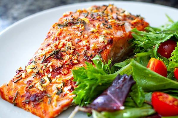 Baked Salmon Fillets Mediterranean Style