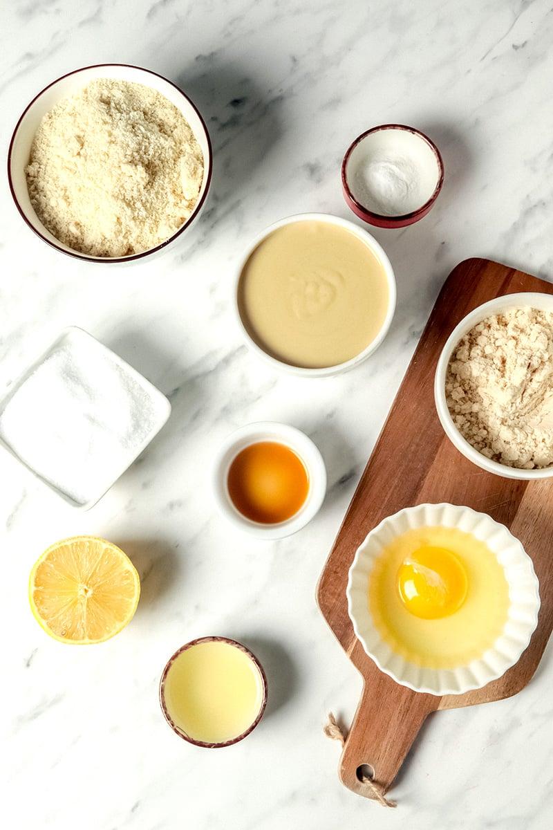 Ingredients for lemon shortbread cookies
