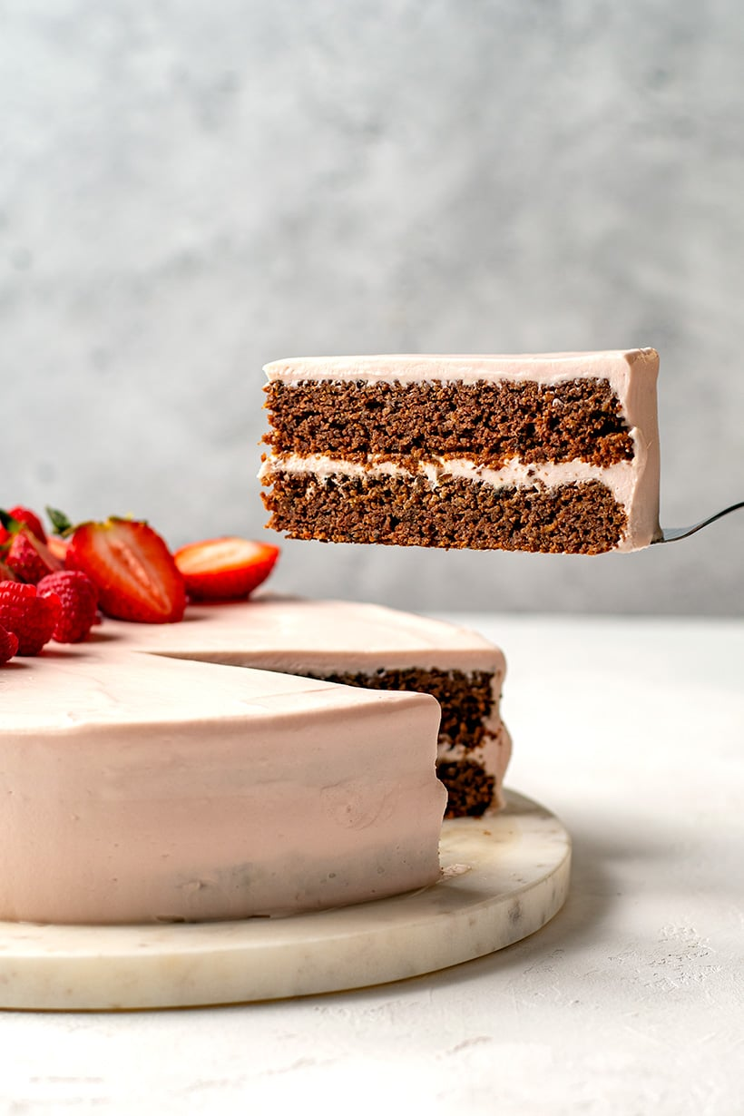 Chocolate Beet Cake With Pink Cream Cheese Frosting (Low-Carb, Gluten-Free)