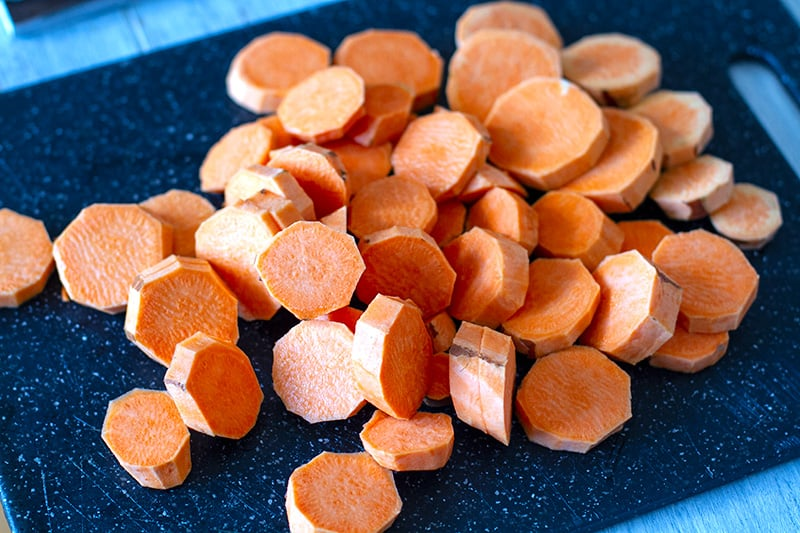how to roast sweet potatoes for this salad