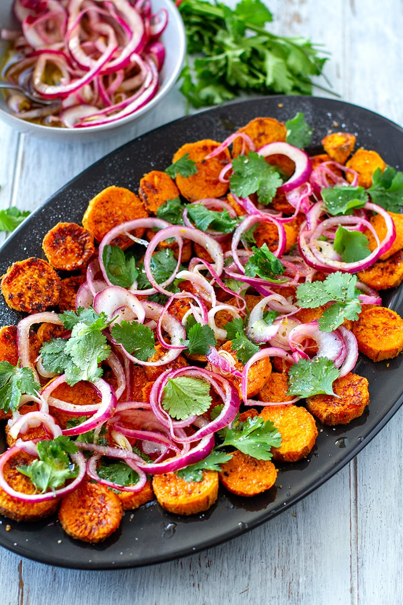 Roasted Sweet Potato Salad With Pickled Onions & Cilantro