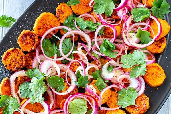 Sweet potato salad with pickled onions