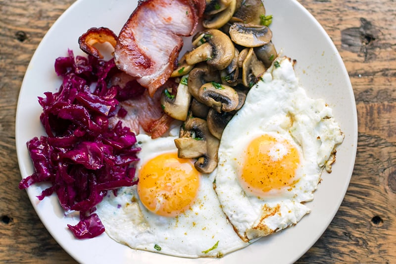 Low-carb breakfast fry up with eggs, mushrooms and bacon