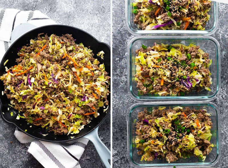 Low carb egg roll in a bowl with ground beef