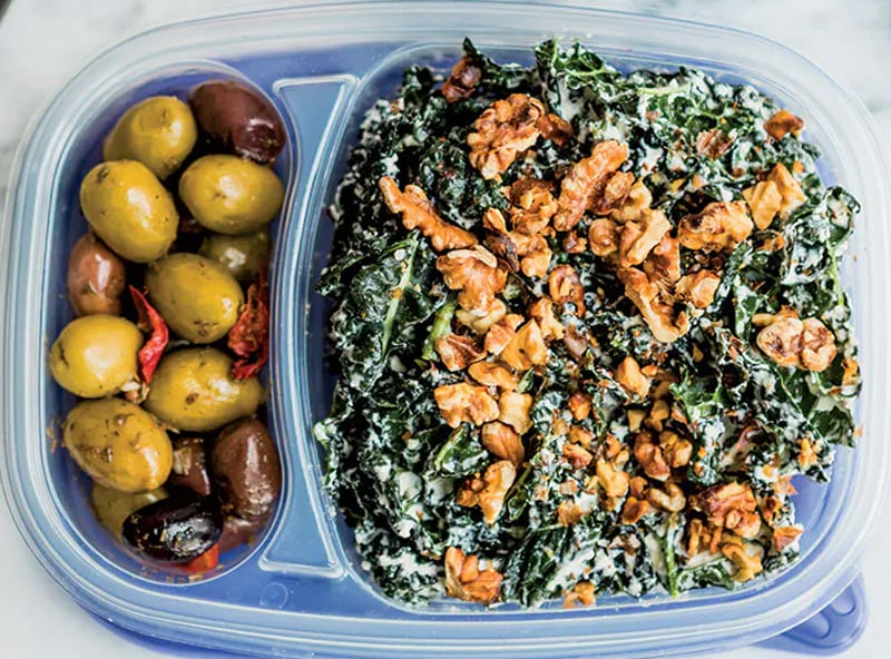 Low-Carb Kale Caesar With Walnuts