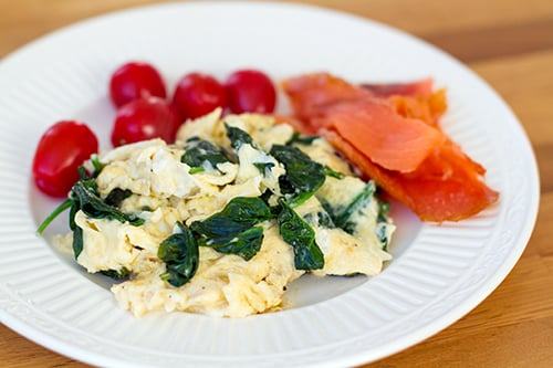 Scrambled eggs with spinach and salmon