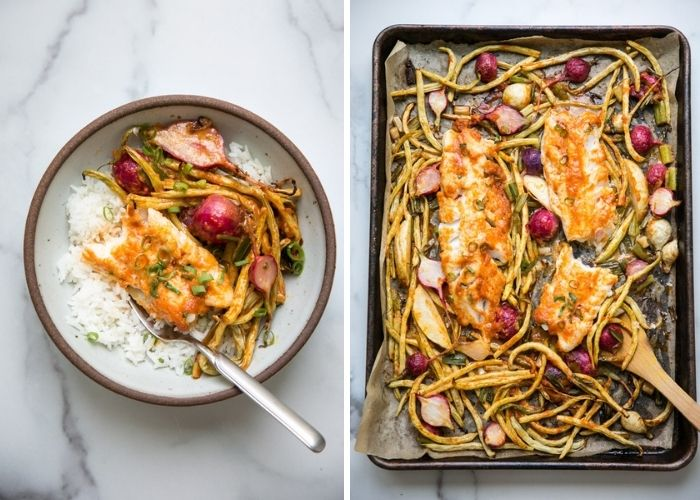 Low fodmap dinner recipes - Baked cod loin with miso red curry sauce and vegetables