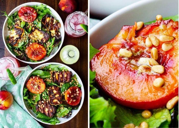 Roasted Peach and Halloumi Salad With Basil Vinaigrette