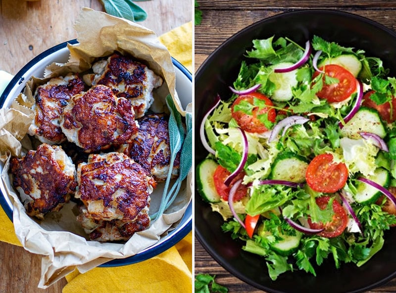 Chicken pear patties with salad low-carb lunch