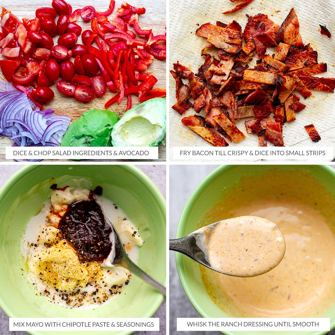 Making chipotle ranch dressing and chopping salad ingredients