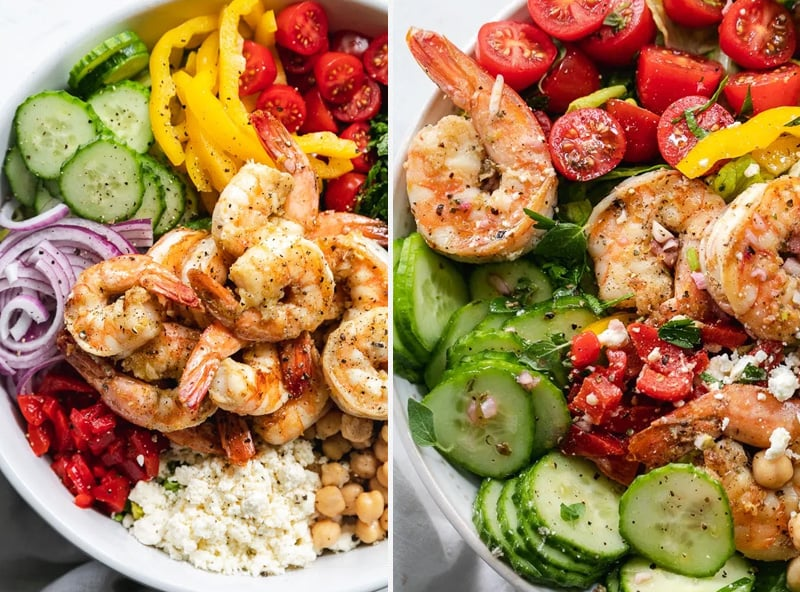 Mediterranean salad with shrimp and feta