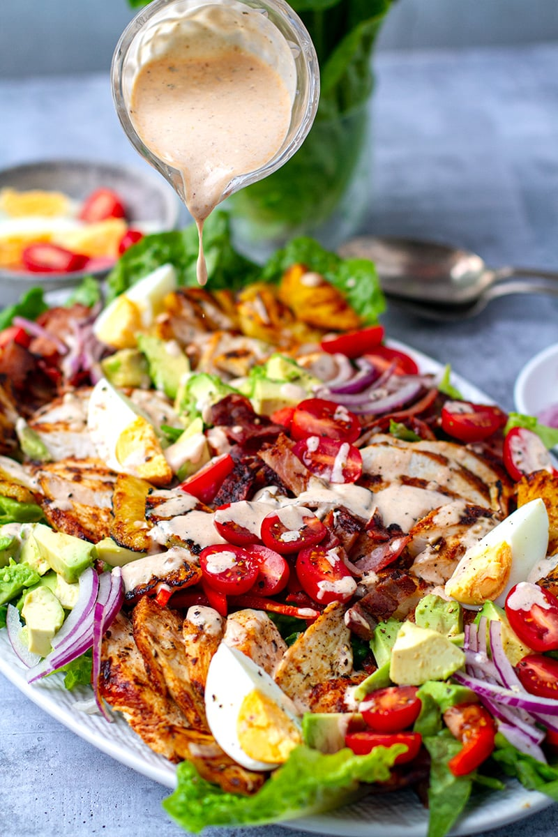 Grilled Chicken Cobb Salad With Pineapple & Chipotle Ranch