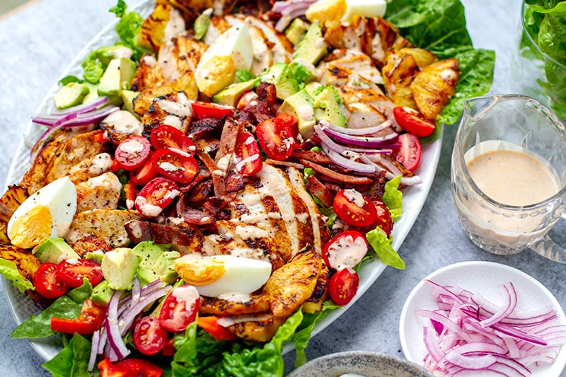 Whole30 and paleo Cobb salad with chicken