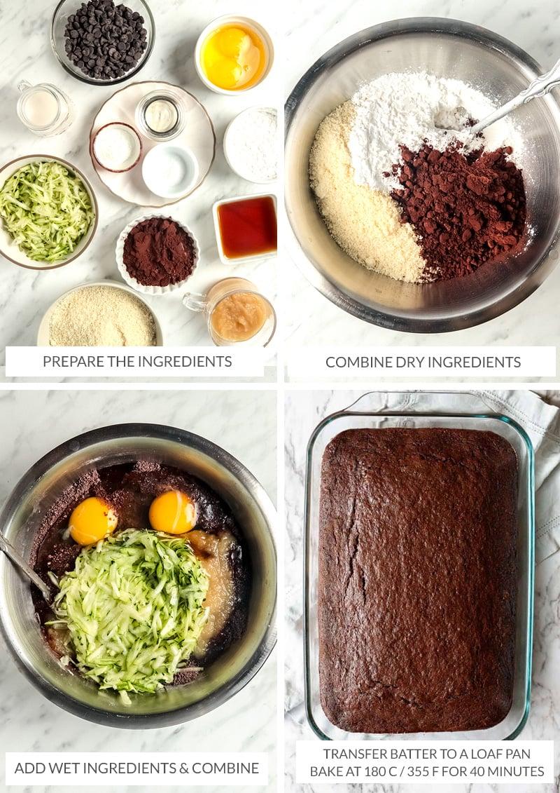 How to make chocolate zucchini cake steps