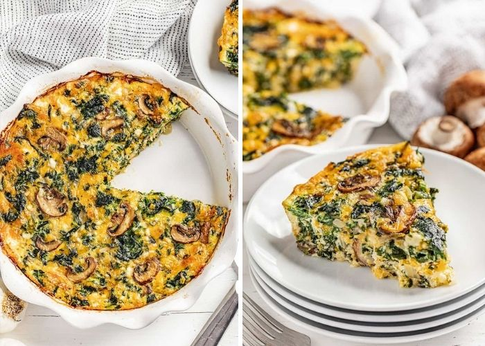 Low carb crustless spinach pie
