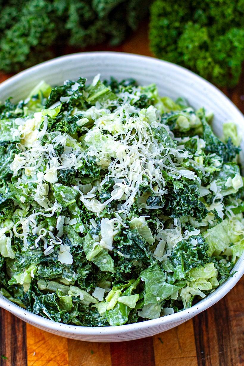Cheesy Leafy Green Salad (Keto, Low-Carb, Gluten-Free)