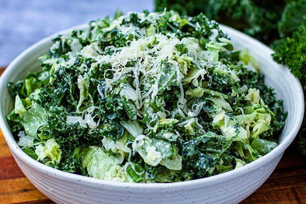 Leafy Green Salad With Cheesy Creamy Garlicky Dressing