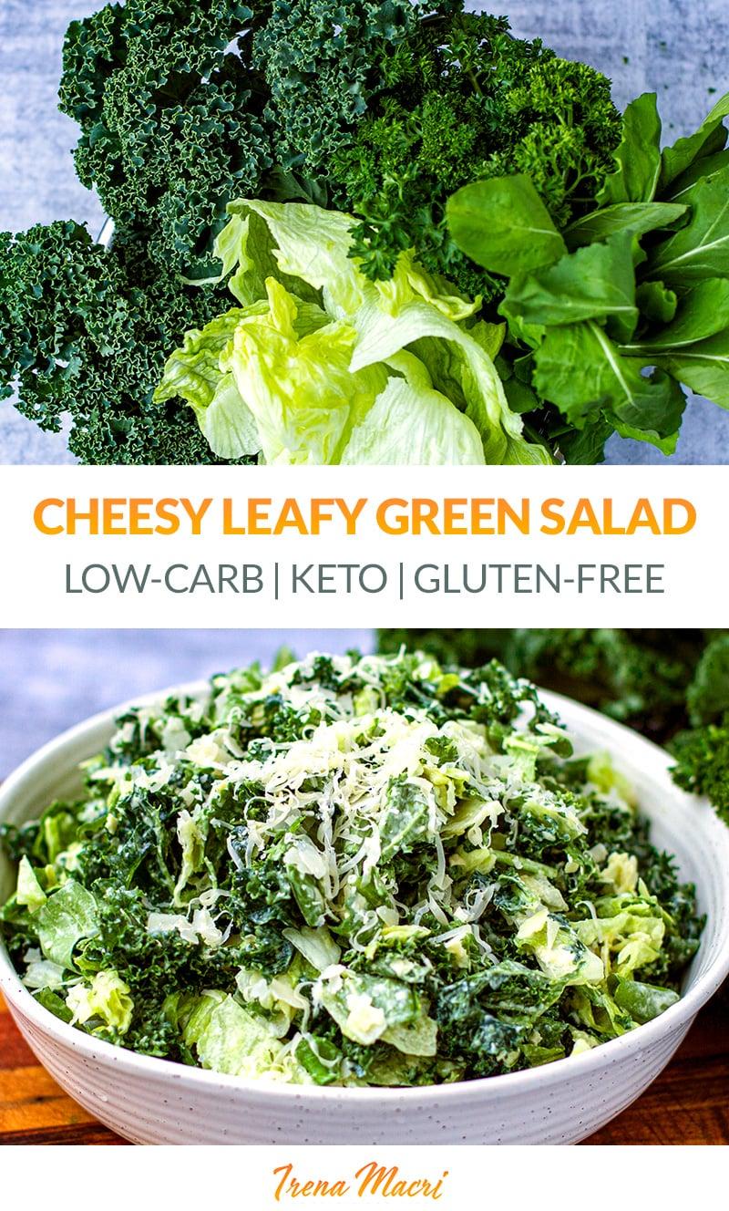 Cheesy Leafy Green Salad (Low-Carb, Keto, Gluten-Free)