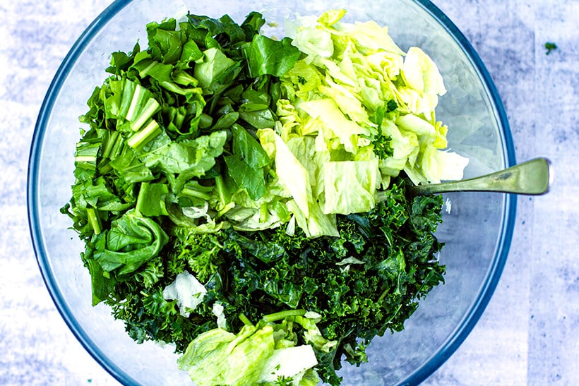 Leafy greens chopped up in a bowl