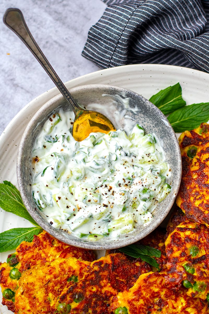 Cucumber mint raita to go with fritters