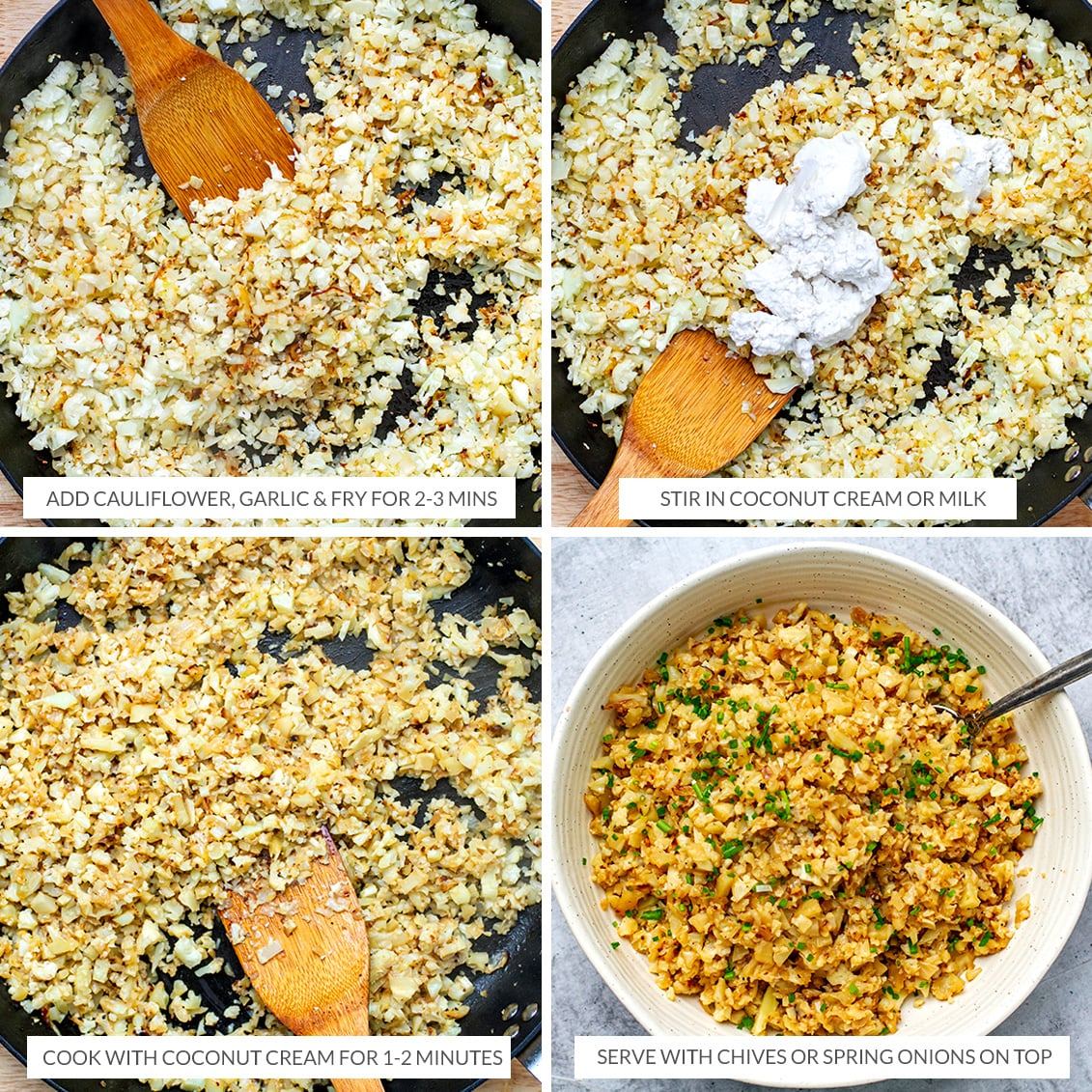 How to cook cauliflower rice in a frying pan