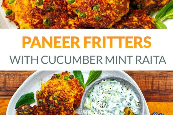 Paneer Fritters With Cucumber Mint Raita (Low-Carb, Vegetarian)