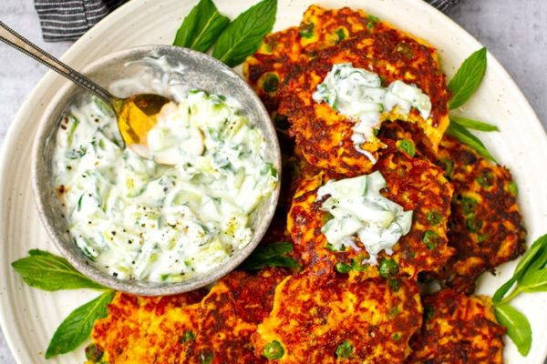 Low-Carb Paneer Fritters With Cucumber Raita