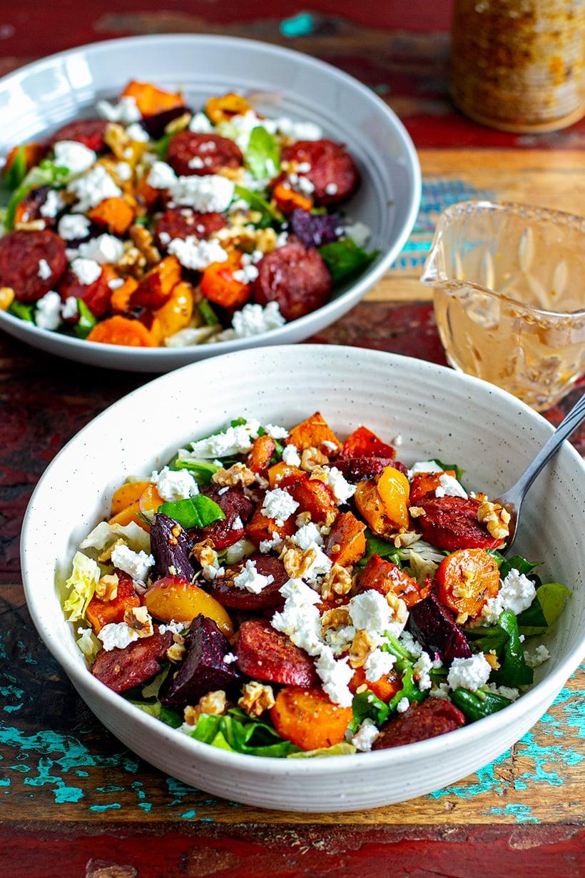Roasted Vegetable Chorizo & Feta Salad