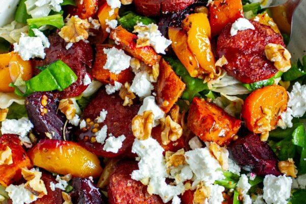 Roasted Vegetable Salad With Chorizo & Feta